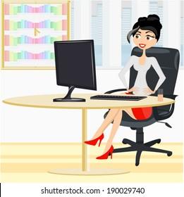 Beautiful woman sitting in the office chair/ Beautiful woman