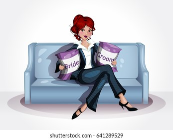 Beautiful Woman sitting on a couch. Pillows for Bride and Groom.