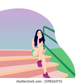 Beautiful woman sitting on stairs. Vector flat illustration. Eps 10