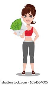 Beautiful woman in sport outfit. Cheerful fitness girl holding envelope with money. Vector illustration on white background.