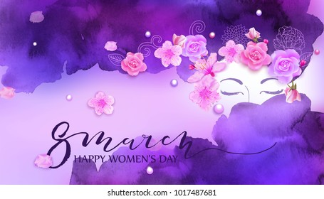 Beautiful woman with spring flowers, cherry blossom, roses. Watercolor pink background. Mother s day, 8 march, beauty, style, fashion design.