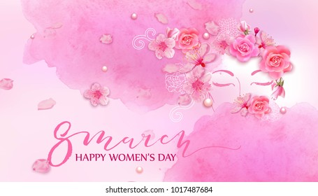 Beautiful woman with spring flowers, cherry blossom, roses.Watercolor pink background. Mother's day, 8 march, beauty, style, fashion design.