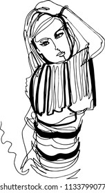 A beautiful woman in a striped jumper took a model pose, a hand on her head, dressed up, a beautiful hairstyle, demonstrates clothes, street fashion, minimalistic illustration with a continuous line.