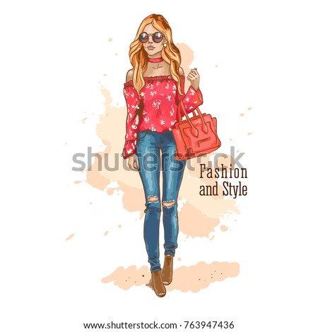 db9296bbc Beautiful Woman Stylish Clothes Fashion Look Stock Vector (Royalty ...