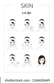 Beautiful woman take care about her face. Illustrated steps how to take care of skin, daily care. Isolated lined illustrations set.