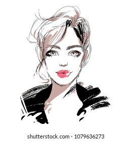 Beautiful woman vector fashion sketch. Young girl face portrait. Hand drawn illustration for cosmetics sale card design, beauty poster, make up banner.