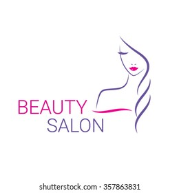 Beautiful woman vector logo template for hair or beauty salon, cosmetic procedures, spa center.