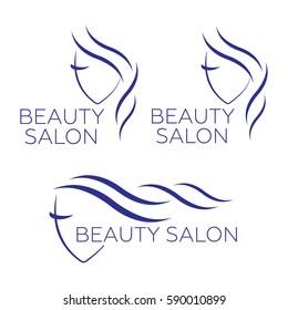Beautiful woman vector logo template for hair salon, beauty salon, cosmetic. Beautiful woman vector