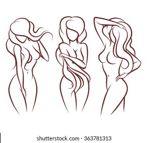 Beautiful woman vector silhouette. Beautiful girl body, fashion young sexy person lady illustration