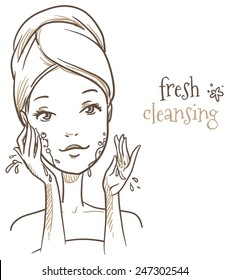 Beautiful woman, washing her face before makeup, cosmetic, spa treatment. Hand drawn vector illustration