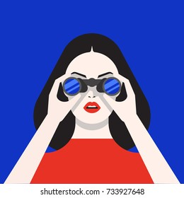 Beautiful woman watching through binoculars, detailed flat style vector illustration isolated on stylish bright background