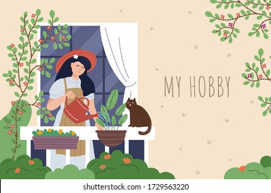Beautiful woman watering flowers on the balcony. Young girl doing her favorite hobby. Home garden and cute exterior design. Modern illustration.