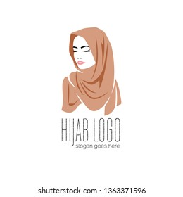 Beautiful woman wearing colorful hijab icon, logo isolated on white background, Muslim veil, vector illustration