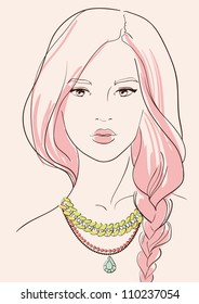 beautiful woman wearing jewelry necklace vector illustration eps 10
