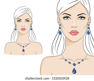 Beautiful woman wearing luxury jewelry, vector sketch illustration. Fashion model with Sapphire Earrings and Necklace.
