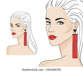 Beautiful woman wearing stylish jewelry, vector sketch illustration. Fashion model with red long tassel earrings.