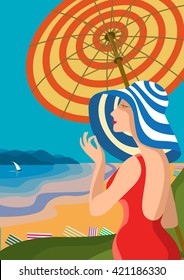 Beautiful woman in a wide-brimmed hat on a tropical beach. The lake shore, the mountains. Holiday on the French Riviera, Liguria. Poster in the Art Deco