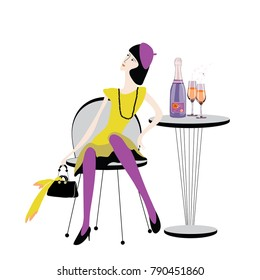 Beautiful woman in yellow dress with black handbag and beads sitting on the chair with champagne bottle with two glasses on the table. Vector illustration on white background