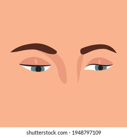 Beautiful woman's eyes looking down or left side. isolated on skin background. Vector Illustration. Pretty glance of female eyes. Emotions expression with eyes.