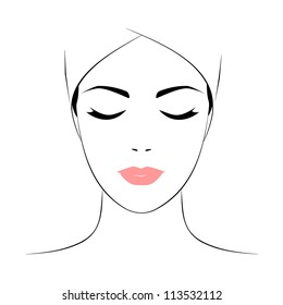Beautiful woman's face with closed eyes. Vector version.