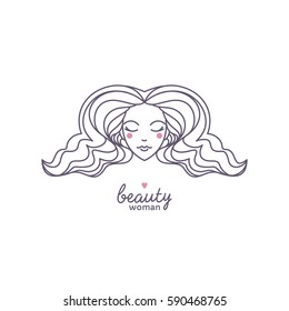 Beautiful woman's face in a fashionable linear style. It can be used for beauty salons