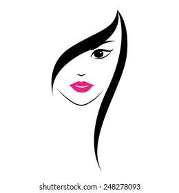 Beautiful woman's face on white background. Symbol icon logo design. Vector illustration.