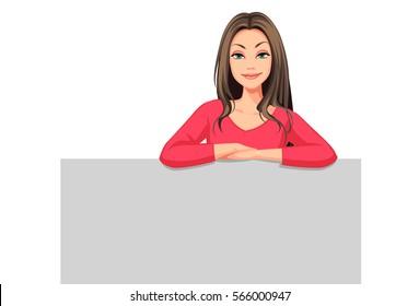 Beautiful Women with the blank board