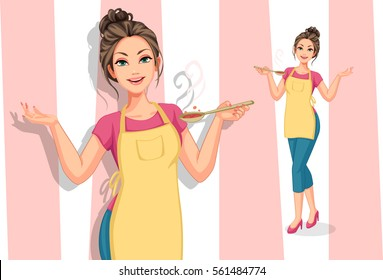 Beautiful women in cooking apron holding a spoon vector illustration