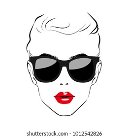 Beautiful Women face with sunglasses. Art monochrome black sketching vector girl face with red lips and glass symbols with space for text. Fashion Girls Illustration