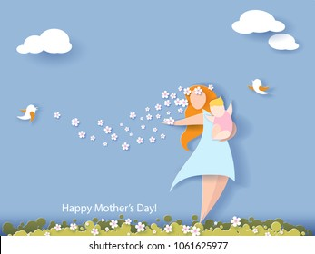 Beautiful women with her baby. Happy mothers day card. Paper cut style. Vector illustration