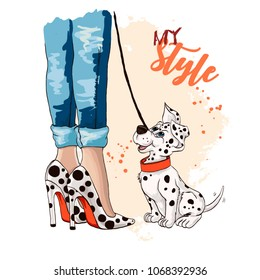 Beautiful women legs in fashionable high heel shoes. Stylish woman with a Dalmatian puppy. Shoes with stylish circle pattern. Conceptual solution shoes with the circles and close to the puppy's spots.