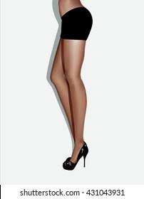 Beautiful women legs wearing stiletto heels, vector  illustration