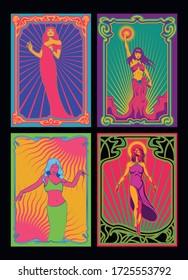 Beautiful Women Psychedelic Art Posters, Art Nouveau Frames, Goddess, Flying Woman, Dancing Girl