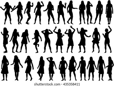 Beautiful women silhouettes. Large collection.