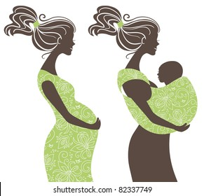 Beautiful women silhouettes. Pregnant woman and mother with baby in a sling