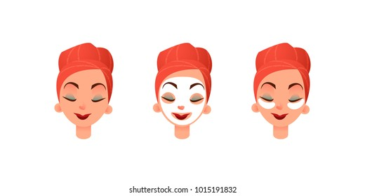 Beautiful women's faces. Girl with purifying mask and eye patches against circles under the eyes. Facial and eye care. Flat vector illustration