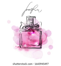 Beautiful women's perfume with watercolor background. Beauty and cosmetics background. Use for advertising flyer, banner, leaflet. Template Vector.