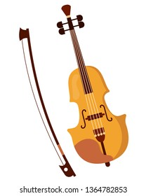 Beautiful wooden classical musical violin and bow for playing on it. Carved bowing musical stringed concert violin instrument. Vector cartoon illustration isolated.