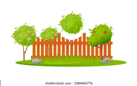 Beautiful wooden fence enclosing garden area with planting, lawn, different berry and fruit trees. Decorative wooden fence. Exterior, appearance, design of gates, area. Vector illustration.