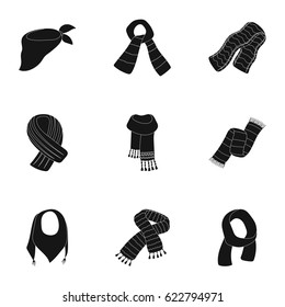 .Beautiful woolen, silk-colored warm scarves of shawls. scarves and shawles icon in set collection on black style vector symbol stock illustration.