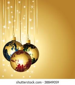 Beautiful world christmas balls on a golden background. Vector illustration.