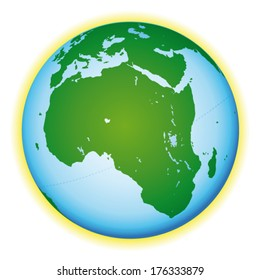 Beautiful world globe. African view. Vector icon.