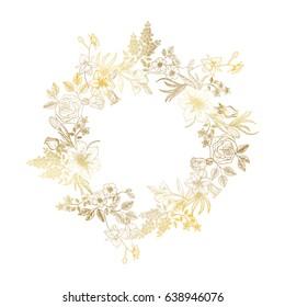 Beautiful wreath of flowers. Vector illustration.
