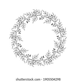 Beautiful wreath with foliage and twigs with berries. Elegant border design, decoration element. Floral frame with linear leaves and black berries in a circle. Vector illustration, doodle style, white