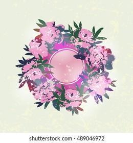 Beautiful wreath of peonies - vector illustration - Shutterstock ID 489046972