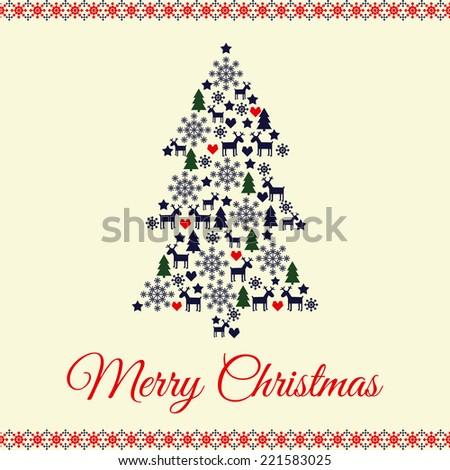 Beautiful Xmas Tree Merry Christmas Celebration Stock Vector ...