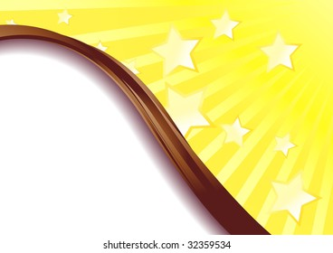 Beautiful yellow advertisement with stars flying; clip-art