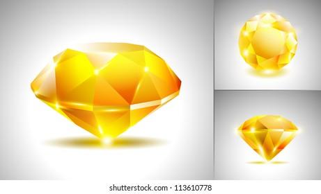 Beautiful yellow diamond (vector set)