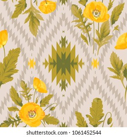 Beautiful yellow flowers, green leaves on the beige ikat chevron background. Floral seamless pattern. Romantic vector illustration. Endless texture of autumn design. Graphic wallpaper with poppies.