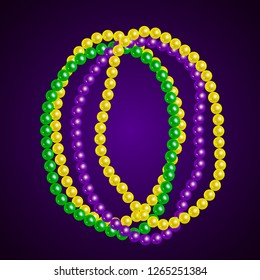 Beautiful yellow, green, purple beads on a dark background. Mardi Gras Party. Venetian carnival mardi gras party.  Vector Design with carnival symbol